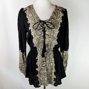 Free People UO Black Boho Tassel Tunic Top Small